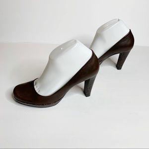 Gianni Bini Brown Heels with Animal Print Detail